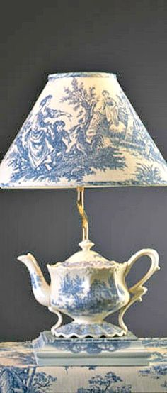 Blue Toile Teapot Lamp
