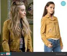 Free People Shrunken Jean Jacket in Honey worn by Sabrina Carpenter on Girl Meets World Maya Fashion, Fashion Tv, Girl Fashion, Fashion Outfits, Girl Meets World, Sabrina Carpenter Outfits, Rebel Outfit, Trendy Outfits, Cool Outfits