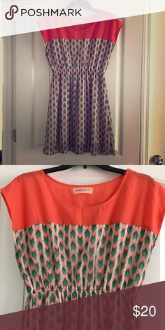 Super cute summer dress! Coral and green are the main colors. Only worn a few times! Francesca's Collections Dresses Mini