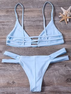 Cut Out Cami Bandage Bikini Set LIGHT BLUE: Bikinis | ZAFUL