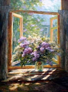 Lilacs - by Stephan Nesterchuk It contains multiple innovations in the use of colors, the background, and in shadow effect in the degree of clarity! Modern Art, Contemporary Art, Window Art, Russian Art, Light Painting, Amazing Flowers, Unique Art, Creative Art, Home Art