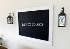 Extra Large Framed Chalkboard Hand Distressed White by TenpennyHouse