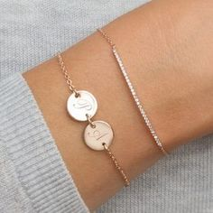 The Personalised Initial Double Disc Bracelet is a stunning modern design available in silver and rose gold with two initials of your choice. Sterling Silver Bracelets, Silver Earrings, Jewelry Bracelets, Silver Jewelry, Fine Jewelry, Silver Ring, Ankle Bracelets, Women's Jewelry, Bracelet Charms