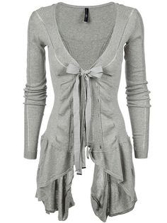 """""""Chapter"""" ribbed asymmetric hem cotton cardigan from High; full length sleeves, lace hole detail down front, ribbed paneling at sleeves, back and to the front"""