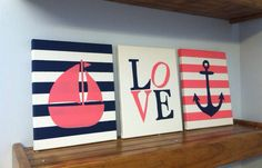 Nautical nursery wall decor paintings by JessieAnnCreations, $50.00