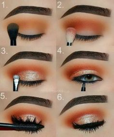 Makeup tutorial: orange and gold glam eye makeup step by step tutorial, perfect date night, girls night or prom look. #eyeshadowsstepbystep