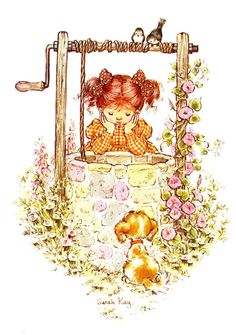 Vintage Sarah Kay illustration. Girl and puppy at the wishing well.