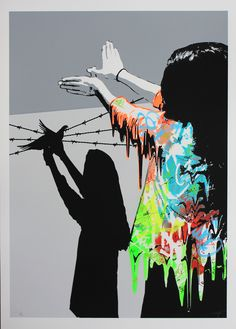 """""""Sad reality"""" screen print limited edition Hand Finish Version, All differents more ; http://kurar.fr/"""