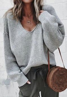 Comfortable outfit. Grey sweater and olive green pants.