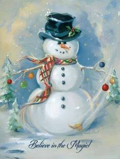 Canvas On Demand Christmas Art 'Snowman Magic' by Susan Comish Painting Print on Wrapped Canvas Christmas Scenes, Christmas Pictures, Christmas Snowman, Winter Christmas, Christmas Holidays, Christmas Crafts, Christmas Ornaments, Xmas, Christmas Posters