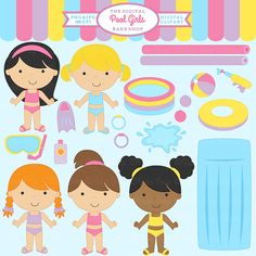 digital clipart pool clip art beach party summer girls - Pool Girls Clipart on Etsy, $5.00