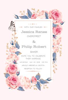 Climbing Roses invitation template. Customize, add text and photos. Print, download, send online for free!  #invitations #printable #diy #template #wedding
