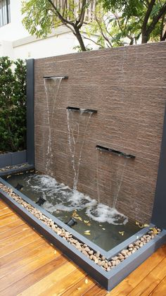 Outdoor water feature ideas indoor wall fountain backyard fountains with tsp home decor build interior a . Modern Water Feature, Outdoor Water Features, Backyard Water Feature, Water Features In The Garden, Wall Water Features, Garden Features, Outdoor Wall Fountains, Outdoor Walls, Patio Fountain