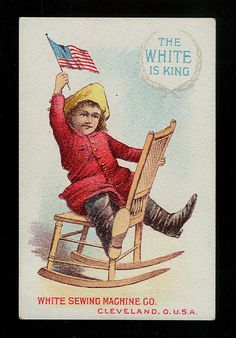 Little Bronco Buster Rides Rocking Chair Victorian Trade Card White Sewing Machine