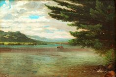"""Lake George,"" Nelson Augustus Moore, 1883, oil on canvas, 10 x 14"", MME Fine Art."