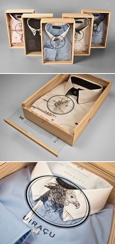 great packaging for a man's shirt - possibly done with a box frame (picture or display frame)