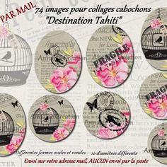 """Images digitales pour collage digital """"destination tahiti"""" pour cabochon bijoux, envoi par mail"""