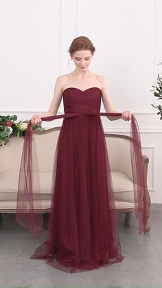 Long Tulle Convertible Bridesmaid Dress With Sweetheart Neckline Chiffon Dress Long, Tulle Dress, Satin Dresses, Dress Up, Maroon Bridesmaid Dresses, Bridesmaid Outfit, Convertible Bridesmaid Dresses, Maroon Dress, Convertible Dress