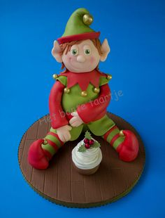"Cake Art! ~  ""Santa's   Helper  Gets A Treat""  ~  Vanilla cake covered with  all sugarpaste  ~ all edible"