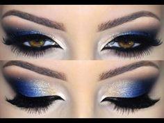 Purple and Blue Smokey Eye Makeup Tutorial Eye Makeup Blue, Navy Blue Makeup, Makeup Tips For Brown Eyes, Blue Makeup Looks, Gold Makeup, Smokey Eye Makeup, Eyeshadow Makeup, Navy Blue Eyeshadow, Gold Eyeshadow