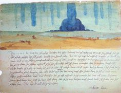 """Dream Vision; A Nightmare (1525), by Albrecht Dürer: a watercolour and accompanying text describing an apocalyptic dream Dürer had on the night of 7-8th June 1525. The text reads: """"In 1525, during the night between Wednesday and Thursday after Whitsuntide, I had this vision in my sleep, and saw how many great waters fell from heaven. The first struck the ground about four miles away from me with such a terrible force, enormous noise and splashing that it drowned the entire countryside. I was…"""
