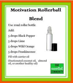 motivation essential oil blend-- Great DIY roller bottle workshop ideas!