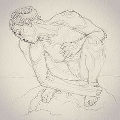 """Drawing of a Rodin sculpture from 1880 at LACMA, Summer 2015 .. """"If the artist only reproduces the superficial features like a photographer, if he exactly records the diverse features of a physiognomy, but without relating these to character, he does not deserve our admiration. The resemblance he should achieve is that of the soul.."""" #AugusteRodin"""