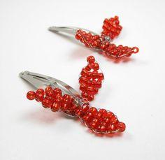 Poppy Red Beaded Hair Clips  Flower Barrettes