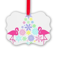 pink flamingo christmas snowflake tree ornament