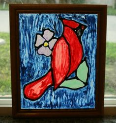 A super simple inexpensive project that looks like real stain glass. How to make a Red Cardinal Faux Stain Glass with materials most people have on hand. Stained Glass Cookies, Stained Glass Angel, Faux Stained Glass, Stained Glass Projects, Painting On Glass Windows, Crafts For Seniors, Senior Crafts, Vbs Crafts, Teen Crafts