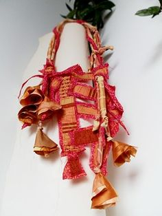A neckpiece for Happy left-handed Lollipop Girls   Nothing w…   Flickr Textile Jewelry, Gorgeous Fabrics, Left Handed, Fabric Samples, Fabric Flowers, Christmas Ornaments, Holiday Decor, Happy, Girls