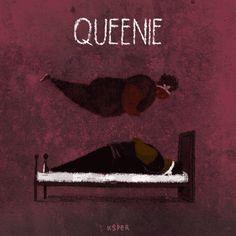 Ilustración animada de Queenie, de American Horror Story, Coven.