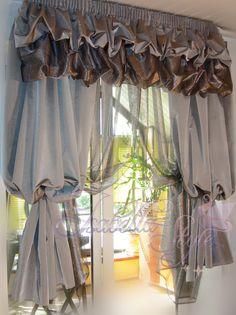 Ruffle Curtains, Shabby Chic Curtains, Home Curtains, Curtains With Blinds, Valance Curtains, Kitchen Window Valances, Kitchen Curtains, Curtain Styles, Curtain Designs