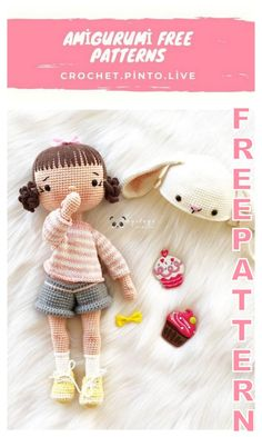 Crochet Doll Tutorial, Crochet Doll Pattern, Crochet Amigurumi Free Patterns, Doll Patterns Free, Homemade Dolls, Knitted Dolls, Cute Crochet, Amigurumi Doll, Crochet Projects