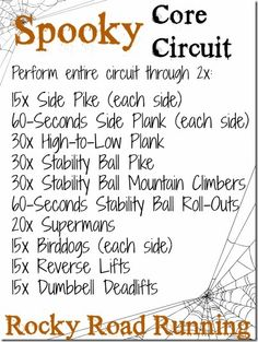 Spooky October Core Circuit Workout - abs, obliques and back.  Just in time to get you ready for your (ridiculous) Halloween costume ;-)