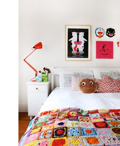 The cutest crafty bedroom EVER.  Artwork top left by Beci Orpin.  Pink painting by Milo!