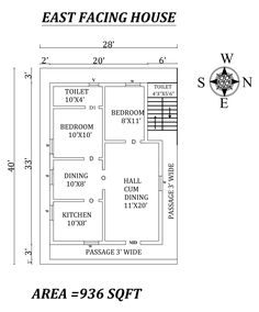 The Perfect East facing House Plan As Per Vastu Shastra,Autocad DWG and Pdf file details Little House Plans, 2bhk House Plan, Family House Plans, Best House Plans, Dream House Plans, 40x60 House Plans, Small House Floor Plans, New Model House, Model House Plan