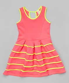 Look at this Sinai Kids Neon Pink & Yellow Stripe Pleated Dress - Girls on #zulily today!
