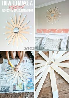 How To Make A Dipped Starburst Mirror From Wood Shims (so easy and affordable!) #diy #mirrordecor