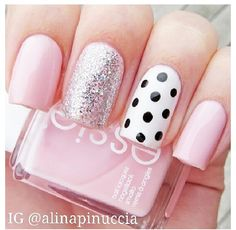 And polka dot nails pink nails, girls nails, pink manicure, blue nail, ma. Really Cute Nails, Love Nails, Cute Pink Nails, Fancy Nails, Trendy Nails, Chic Nails, Milky Nails, Polka Dot Nails, Polka Dots