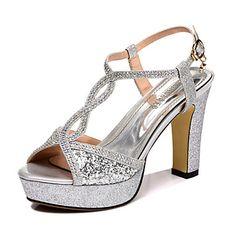 Women's Shoes Rubber Chunky Heel Heels/Peep Toe Sandals Dress Black/Silver - USD $ 57.99