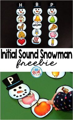 Winter Learning Center - The Initial Sound Snowman Printable is the perfect addition to your literacy centers this winter. This free printable is great for preschool and kindergarten students. Kindergarten Centers, Preschool Literacy, Kindergarten Reading, Kindergarten Activities, Kindergarten Christmas, Alphabet Activities, Language Activities, Free Printables Weihnachten, Snowman Printables
