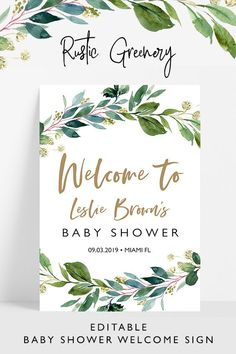 Greenery baby shower welcome sign, editable rustic baby shower welcome sign template,Rustic greenery baby shower,