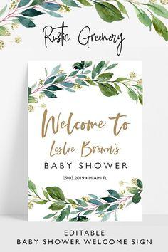 Greenery baby shower welcome sign, editable rustic baby shower welcome sign template,Rustic greenery baby shower, - New Deko Sites