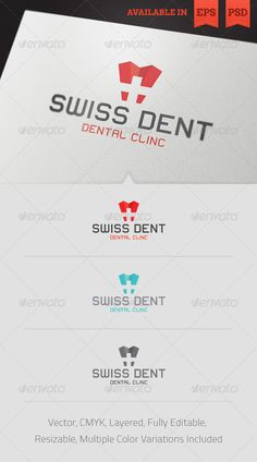Swiss Dent Logo Template  #GraphicRiver  Simple to work with and highly customizable, it ca be easily adjusted to fit your needs.  	 Features   Fully layered and fully editable vector EPS template  Fully layered and fully editable PSD template  Easy to change colors and adjustable to any size  CMYK  Multiple color variations included 	 Font used is Lastwaerk. Created: 1November12 GraphicsFilesIncluded: PhotoshopPSD #VectorEPS