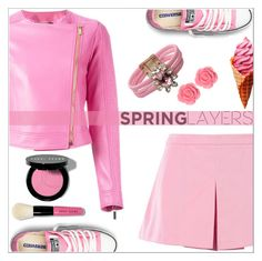 """""""Wardrobebasics- spring jacket"""" by simona-altobelli ❤ liked on Polyvore featuring Converse, Love Moschino, Versace, Bobbi Brown Cosmetics, Shourouk, Lime Crime, Dollydagger, Pink, MyStyle and polyvorecontest"""