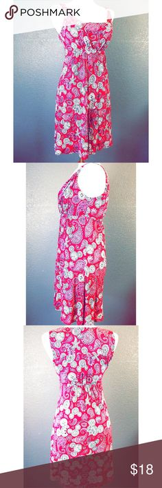 """Disney Parks Micky Mouse Sundress Paisley Sz Small Brand:   Disney Parks Style:  Sun Dress Size:  Small Color:  Pink, white Material:  60% Cotton, 40% Rayon Pattern:  Paisley - Mickey Mouse Ears Occasion:  Casual Neckline:  square Measurements taken flat/approx:                               Shoulder to hem:  34""""                              Across under arm:  15"""" Care Instructions:    Machine wash cold, gentle cycle with similar colors, no bleach, tumble dry low, cool iron if needed…"""