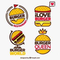 Pack of four burger logo with red details Free Vector Fast Food Logos, Fast Food Menu, Logo Food, Maps Design, Food Graphic Design, Logo Design, Restaurant Poster, Restaurant Menu Template, Modern Restaurant