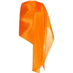 Pleats Please Issey Miyake Pleated scarf ($405) ❤ liked on Polyvore featuring accessories, scarves, huivit, orange, orange shawl and orange scarves