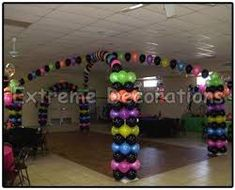 you should do this for a neon glow in the dark party except with glow in the dark balloons 70s Party, Disco Party, Party Time, Miami Party, Neon Birthday, 13th Birthday Parties, Balloon Dance, Balloon Glow, Adult Party Themes